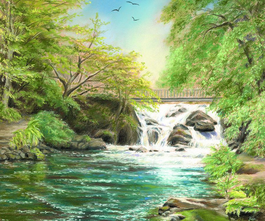 Waterfall Painting - Flow Gently by Vanda Luddy