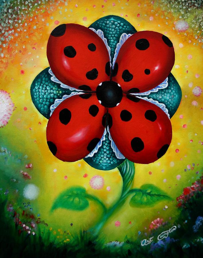 Flower 4 Lady Bugs by Arthur Covington