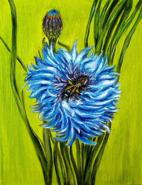 Floral Painting - Flower and Bee oil painting by Natalja Picugina