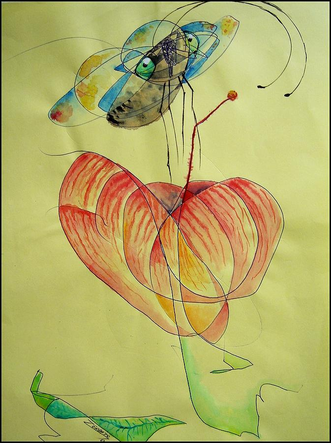 Infantile Painting - Flower And Butterfly by Paulo Zerbato