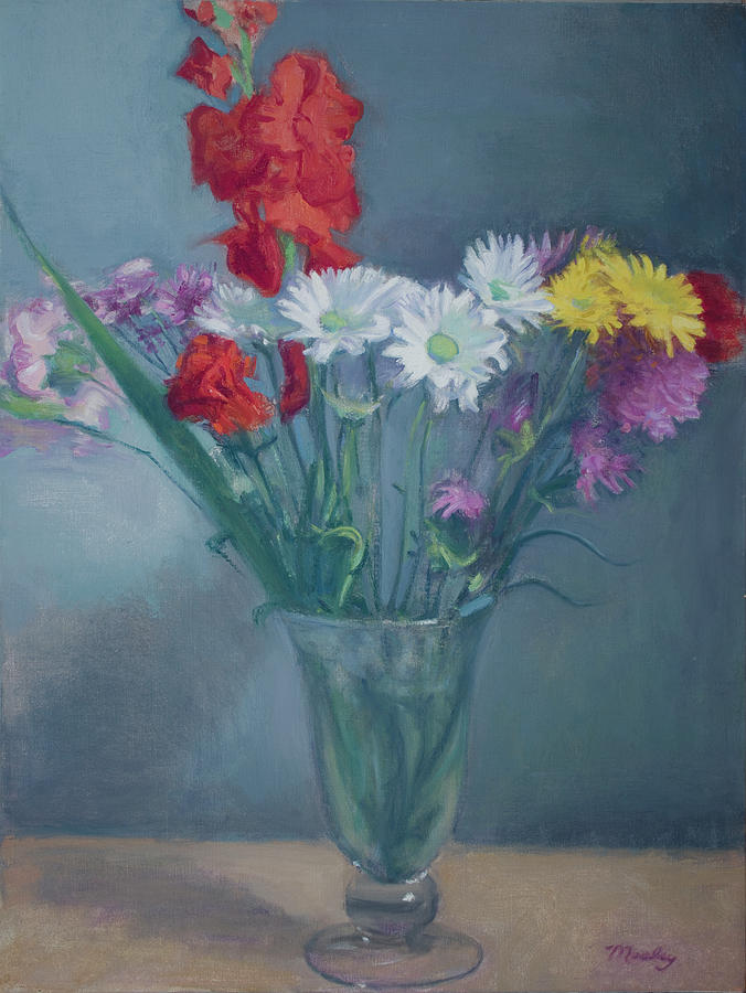 Flower Arrangement In Large Glass Vase Painting By Walter Lynn Mosley