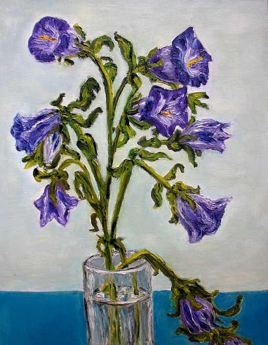 Flower Painting - Flower  Bluebells Original Oil Painting by Natalja Picugina