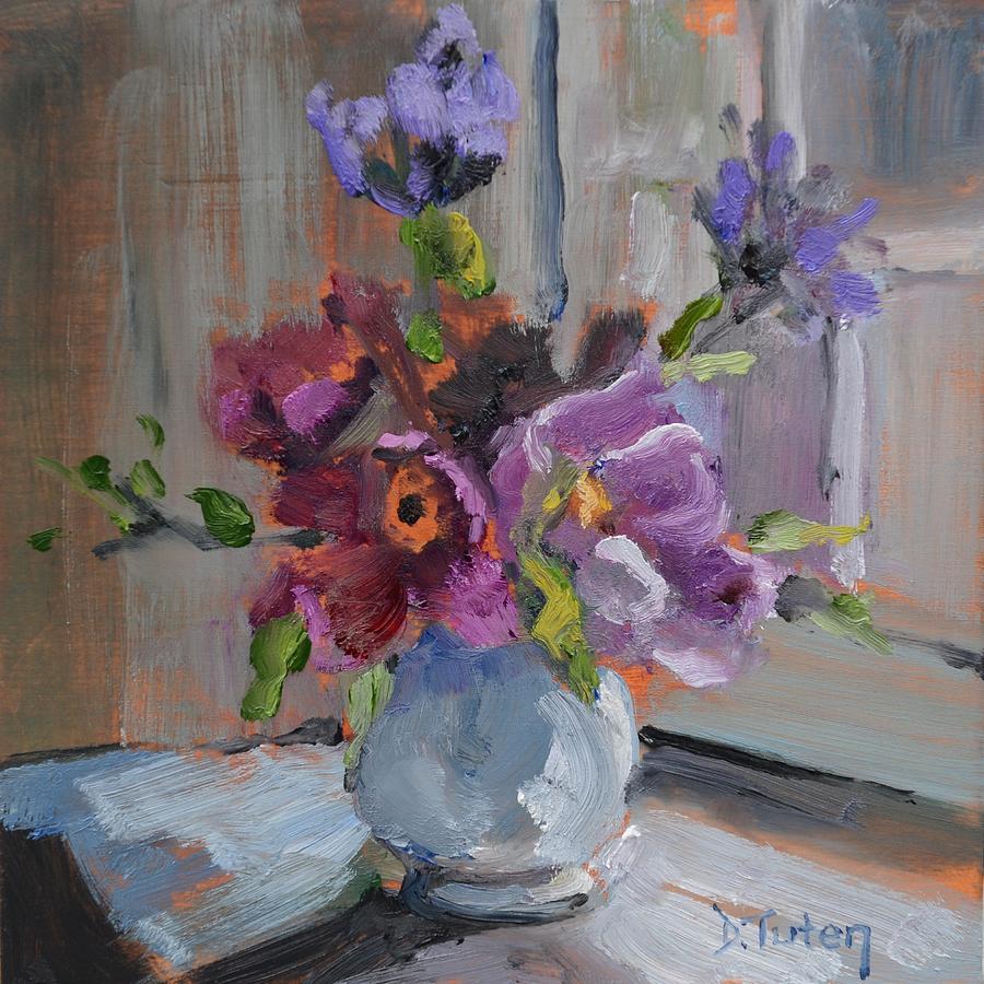 Still Life Painting - Flower Bouquet by Window by Donna Tuten