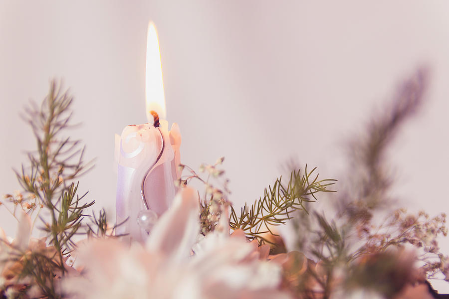 Flower Bouquet With Candle Photograph