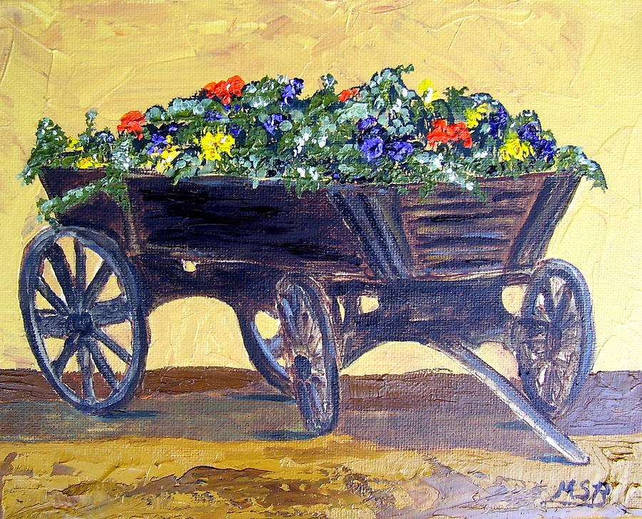 Flower Cart Painting - Flower Cart by Maria Soto Robbins