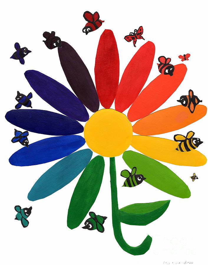 Flower Color Wheel Painting By Debbie Davidsohn