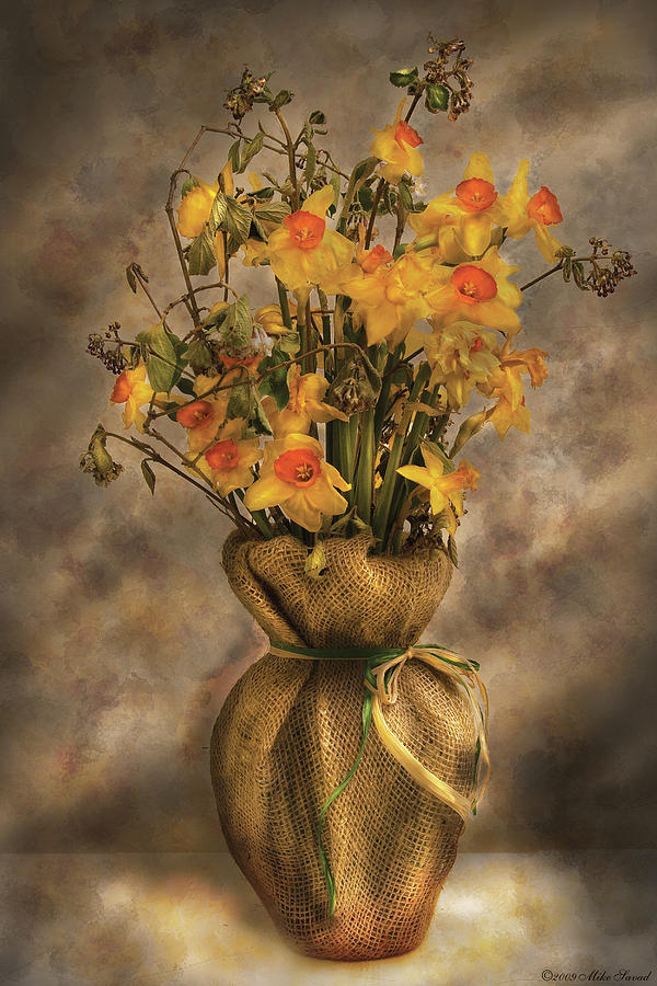 Daffodils Photograph - Flower - Daffodils In A Burlap Vase by Mike Savad