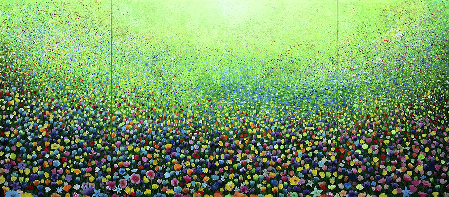 Purple Painting - Flower Field Riot by Geoff Greene