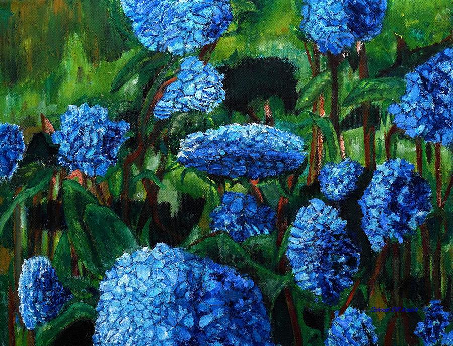 Flower Garden Blue Hydrangeas by Deborah D Russo