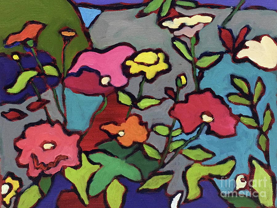 Abstract Painting Painting - Flower Garden by Catherine Martzloff