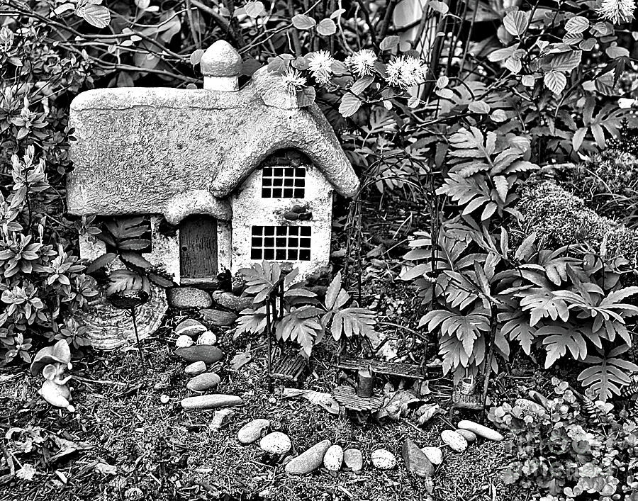 Flower Garden Cottage In Black And White by Smilin Eyes  Treasures