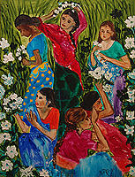 Figures Painting - Flower Gatherers by Suzita George