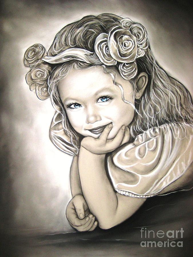 Girl Painting - Flower Girl by Anastasis  Anastasi