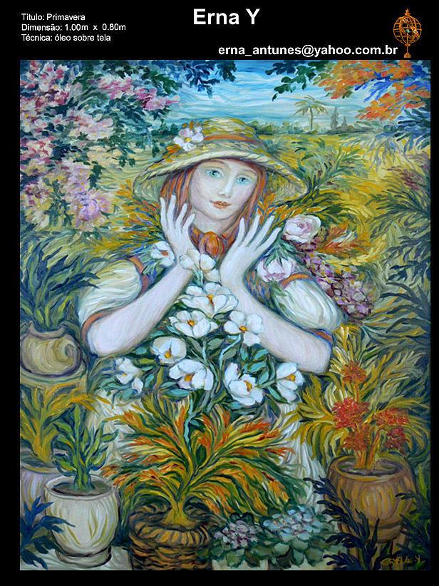 Flower Girl Painting by Erna Y
