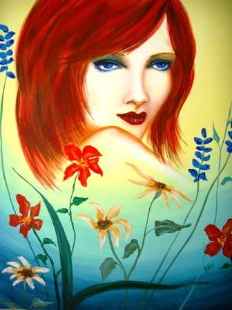 Portraiture Painting - Flower Girl by Jenny  Gini