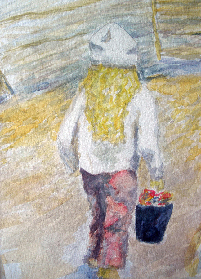 Watercolors Painting - Flower Girl by Mike Segura