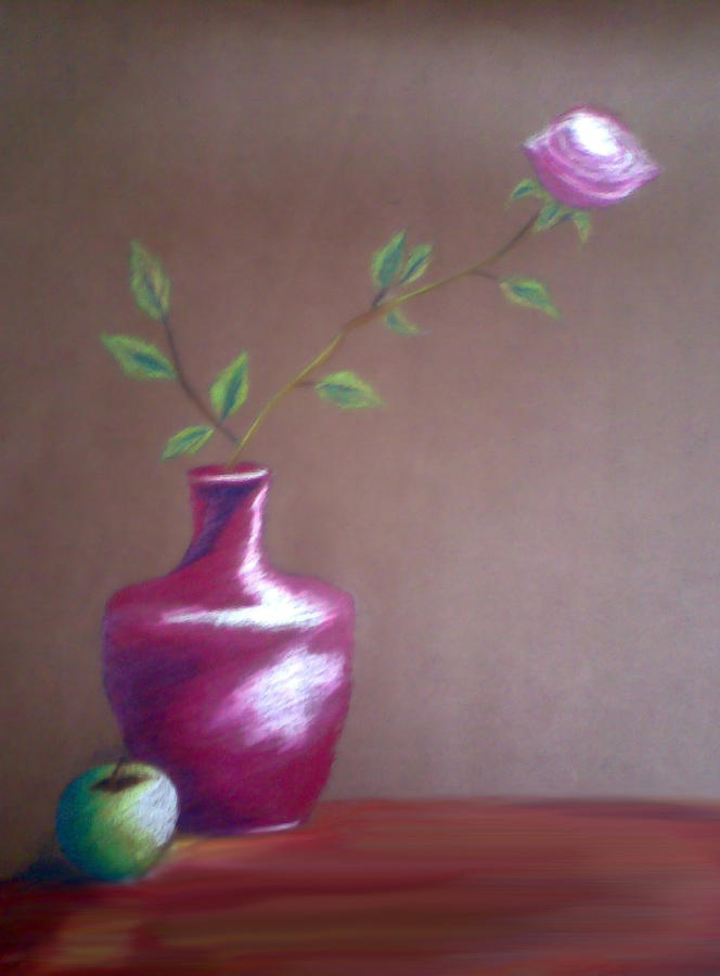 Still Life Pastel - Flower In A And An Apple by Bhupinder Singh