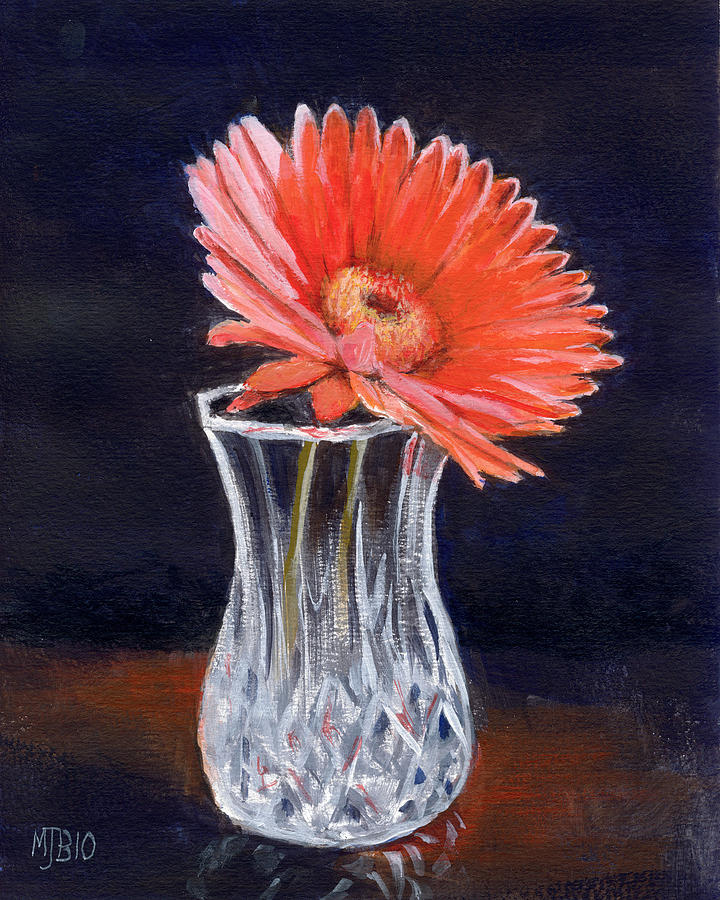 Flower In Crystal Vase Painting By Michael Beckett