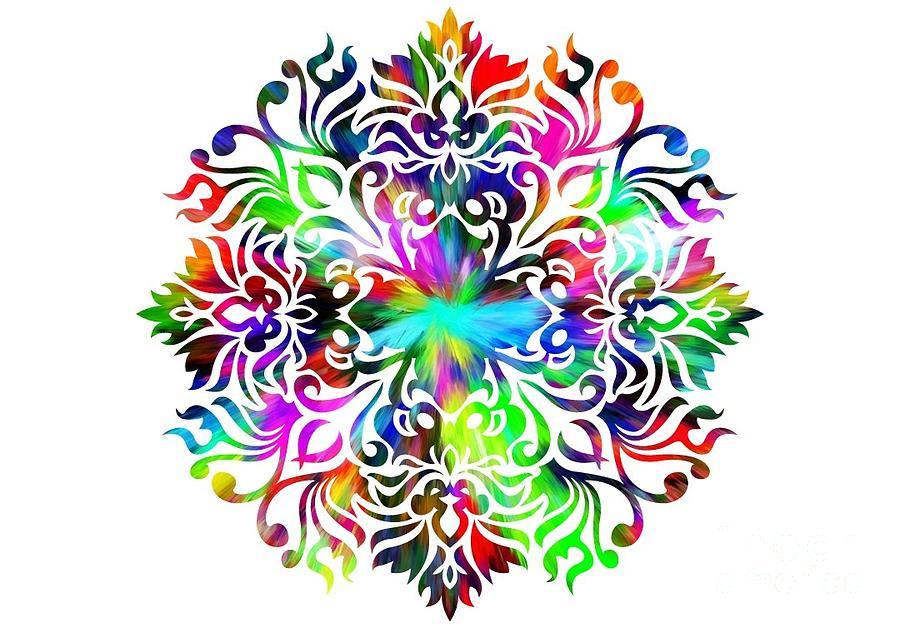 Colorful Digital Art - Flower Mandala 4 by Camryn Zee Photography