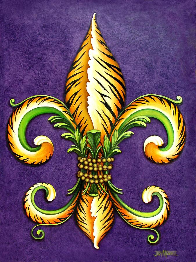 Fleur-de-lis Painting - Flower Of New Orleans Lsu by Judy Merrell