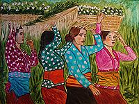 Figures Painting - Flower Offerings by Suzita George