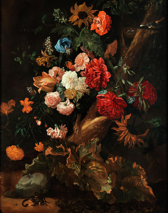 Fruits Painting - Flower Plot With Gelbbauchunke And Snake by Ernst Stuven
