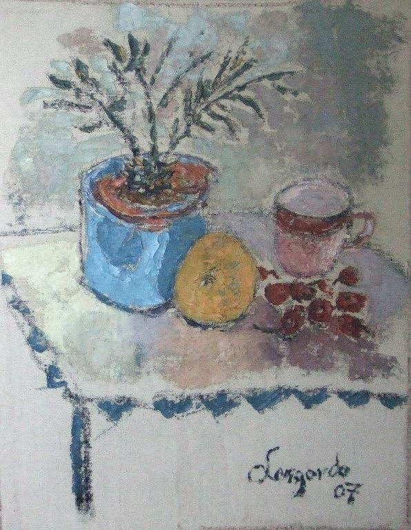 Still Life Painting - Flower Pot And Fruit by Mauro Longordo