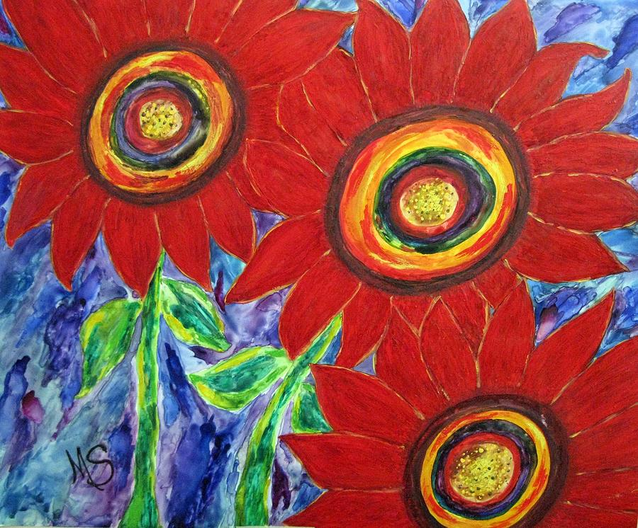 Flowers Mixed Media - Flower Power by M  Stuart