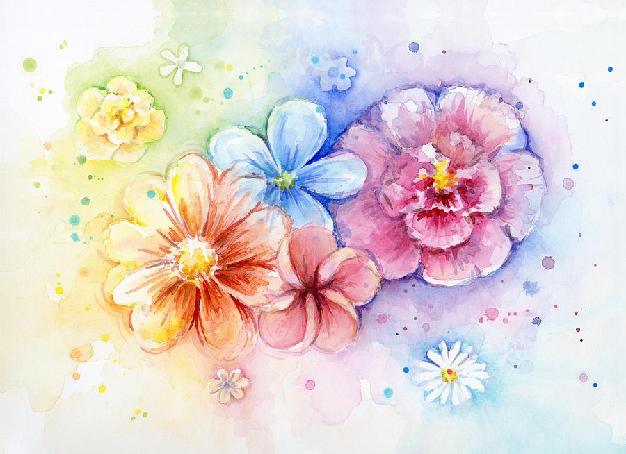 Flower Painting - Flower Power Watercolor by Olga Shvartsur