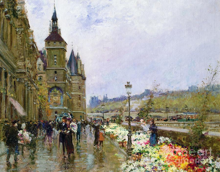 Flower Sellers By The Seine Painting - Flower Sellers By The Seine by Georges Stein