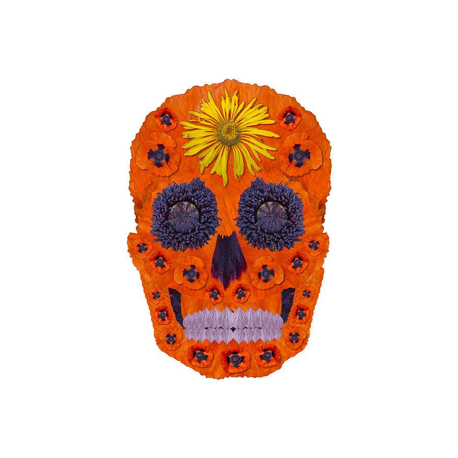 Skull Digital Art - Flower Skull 1 by Agustin Goba