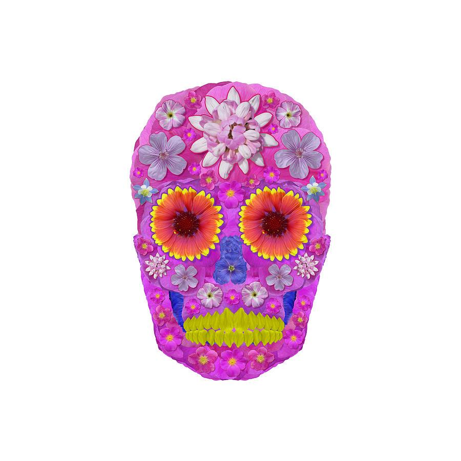 Skull Digital Art - Flower Skull 2 by Agustin Goba