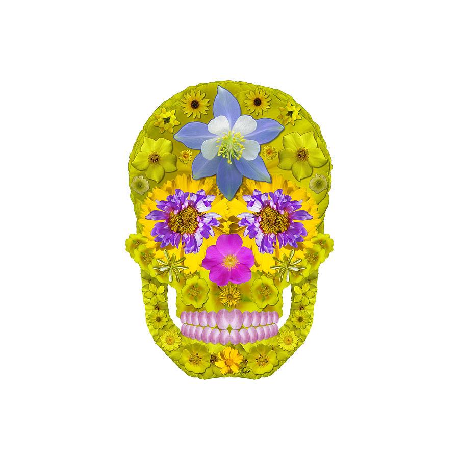 Skull Digital Art - Flower Skull 3 by Agustin Goba