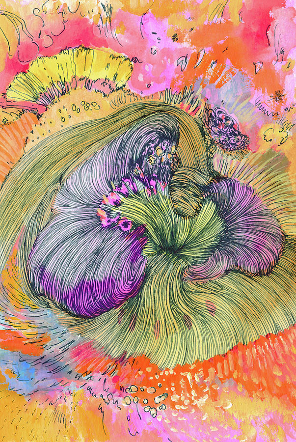 Flower Drawing - Flower - Ss17dw002 by Satomi Sugimoto