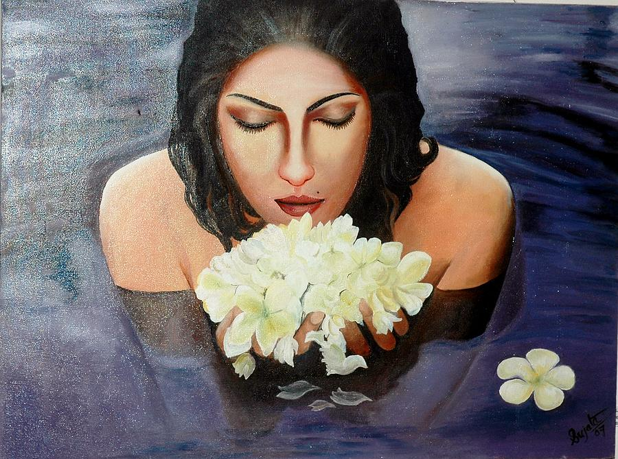 Indian Painting - Flower by Sujata Singh