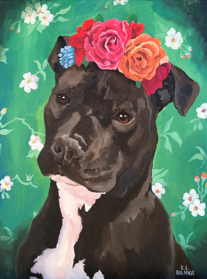 Dog Painting - Flower The Pitbull by Elisa Bolanos