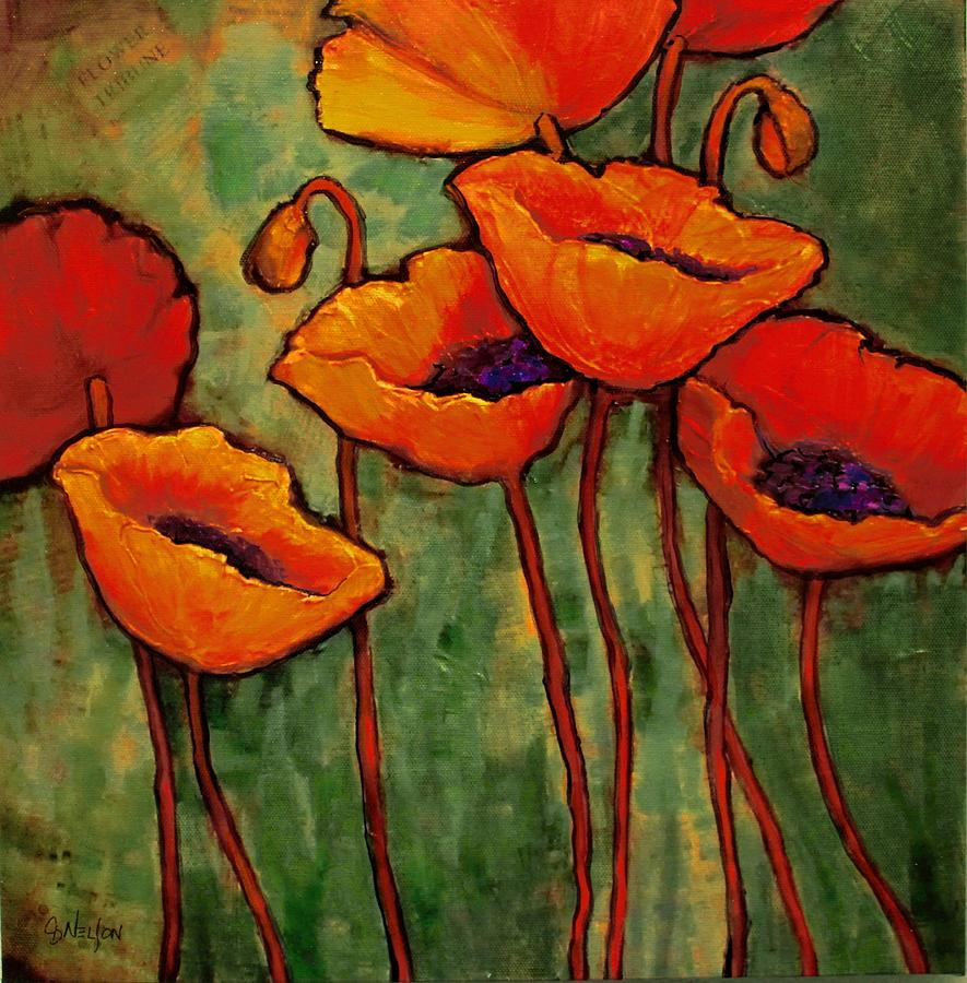Poppies Painting - Flower Tribune by Carol Nelson