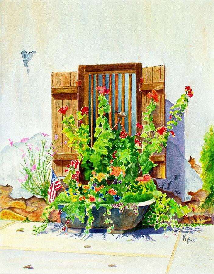 Tub Painting - Flower Tub by Karen Fleschler