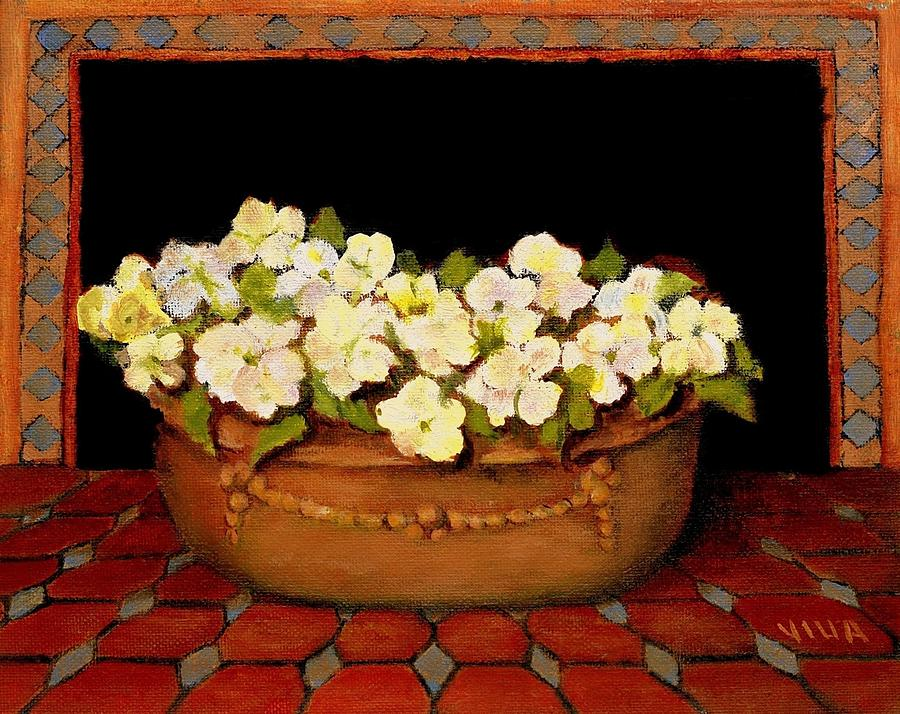 Flower Pot Painting - Flower Tub Rose Bay by VIVA Anderson