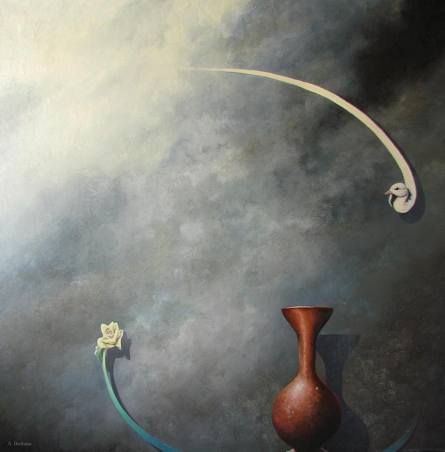 Flower Painting - Flower, Vase And Bird 2 by Adriaan Brolsma