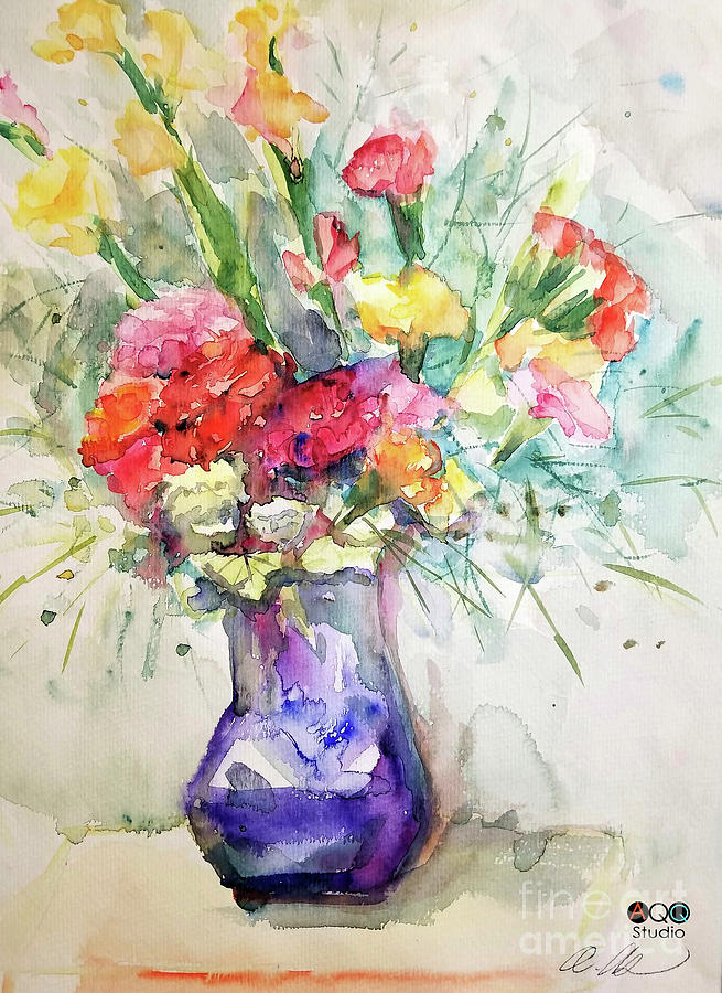 Watercolor Painting - Flower with Purple Vase by AQQ Studio