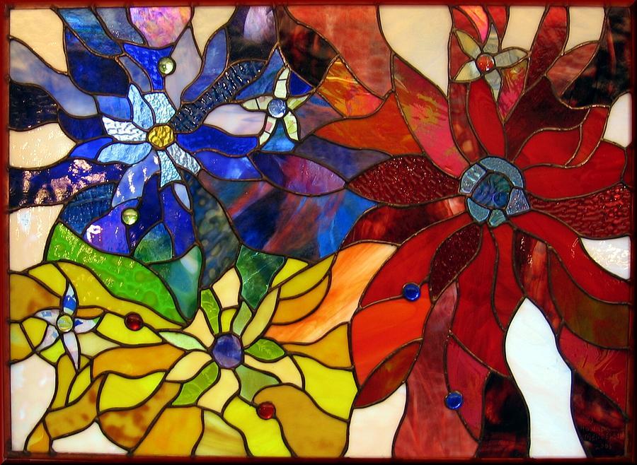 Stained Glass Glass Art - Flowerburst by Howard Mendelson