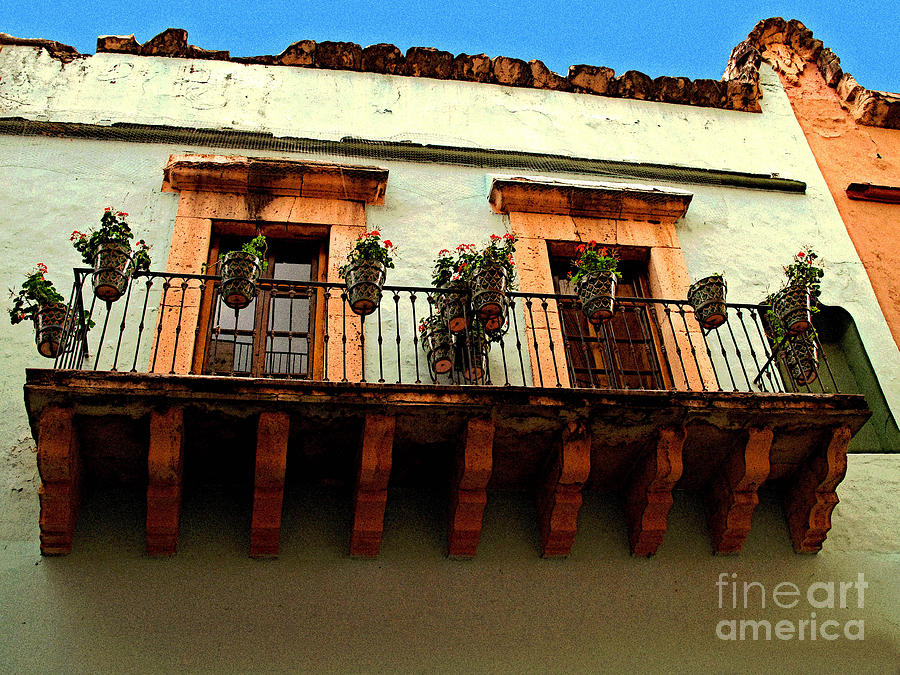 Darian Day Photograph - Flowered Balcony by Mexicolors Art Photography