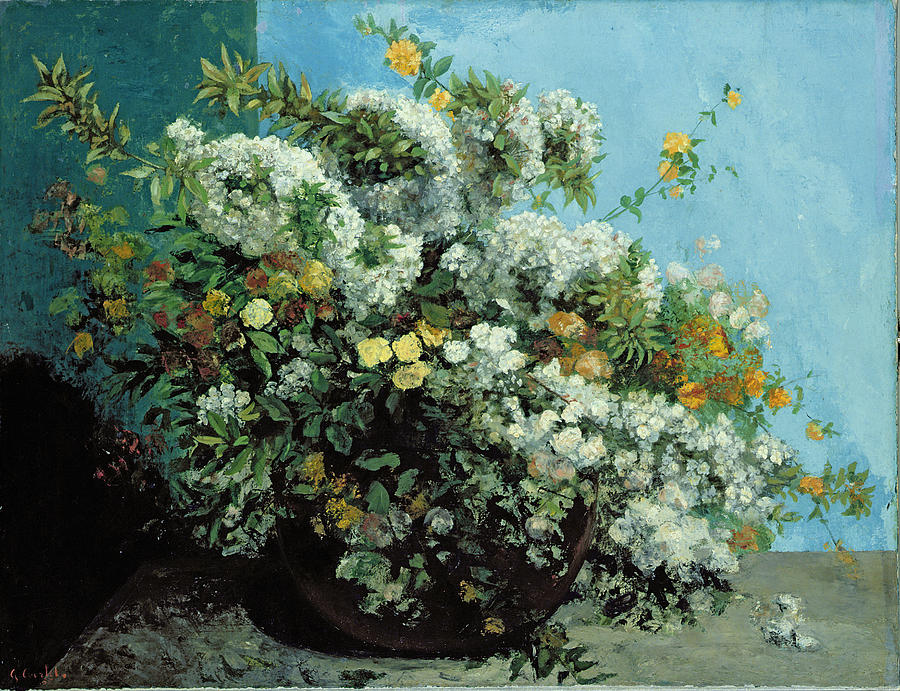 Flowering Painting - Flowering Branches And Flowers by Gustave Courbet