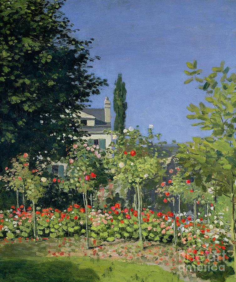 Garden Painting - Flowering Garden At Sainte-adresse by Claude Monet