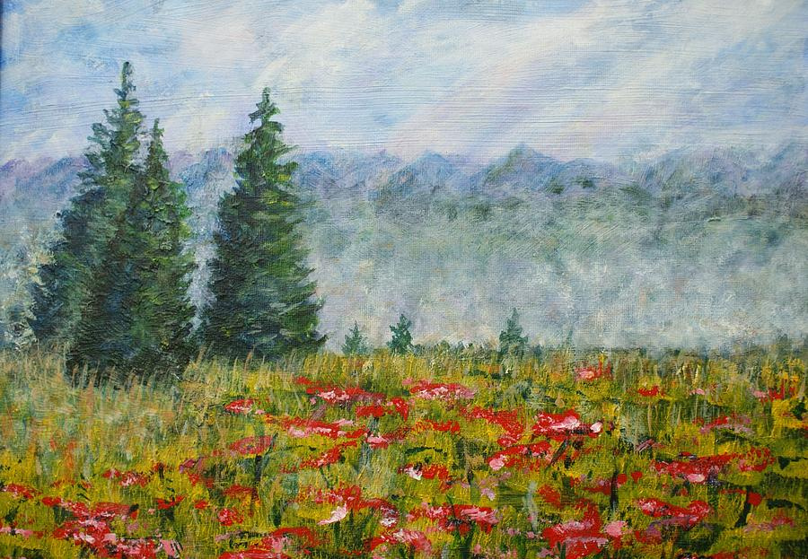 Beauty Painting - Flowering Mountain Meadow by David Frankel