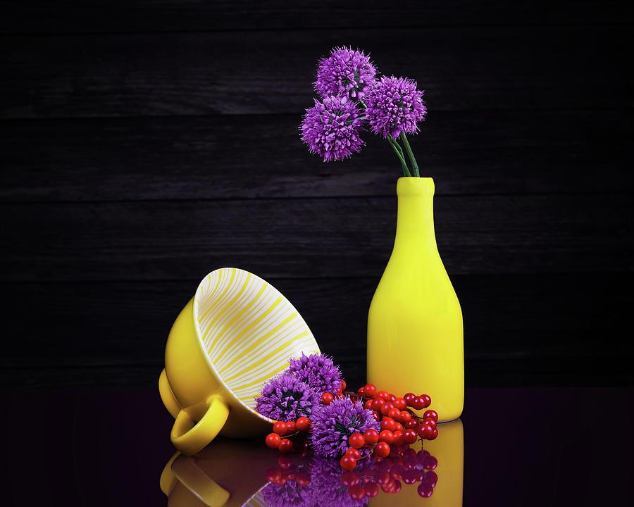Allium Photograph - Flowering Onion With Yellow by Tom Mc Nemar