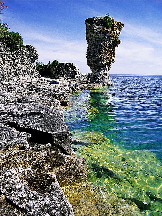 Granite Photograph - Flowerpot Island by John  Bartosik