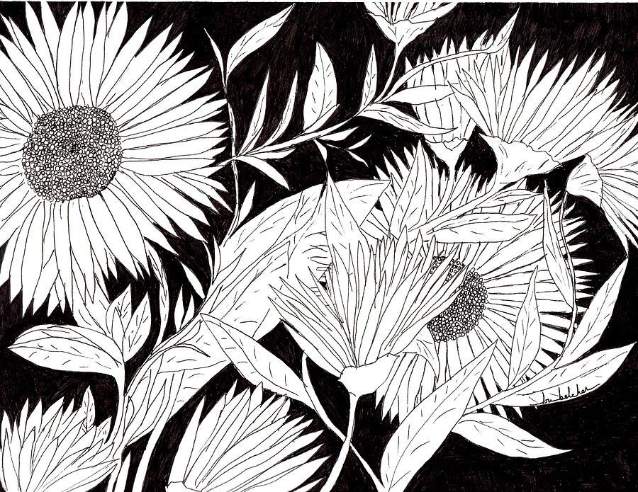 Flowers Drawing - Flowers 2 by Lou Belcher
