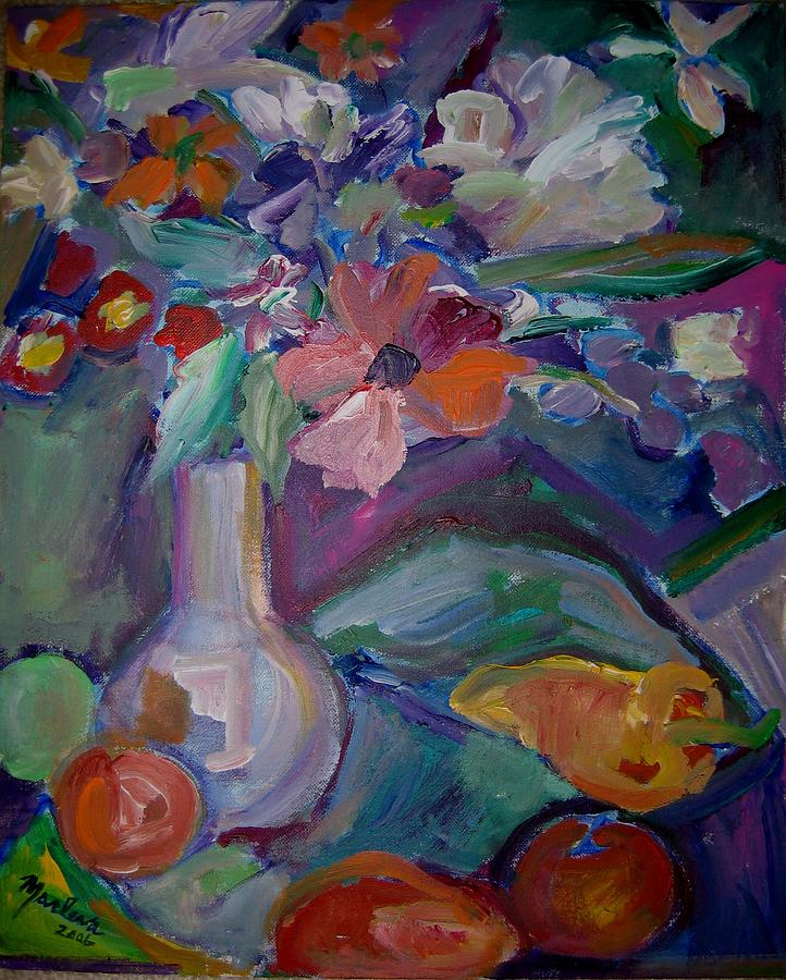 Vase Painting - Flowers 3 by Marlene Robbins